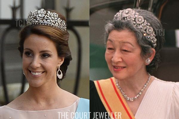 Princess Marie wears Princess Dagmar's Floral Tiara, Empress Michiko wears the Imperial Chrysanthemum Tiara