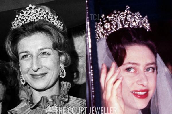 Princess Alexandra wears the Ogilvy Tiara, Princess Margaret wears the Poltimore Tiara