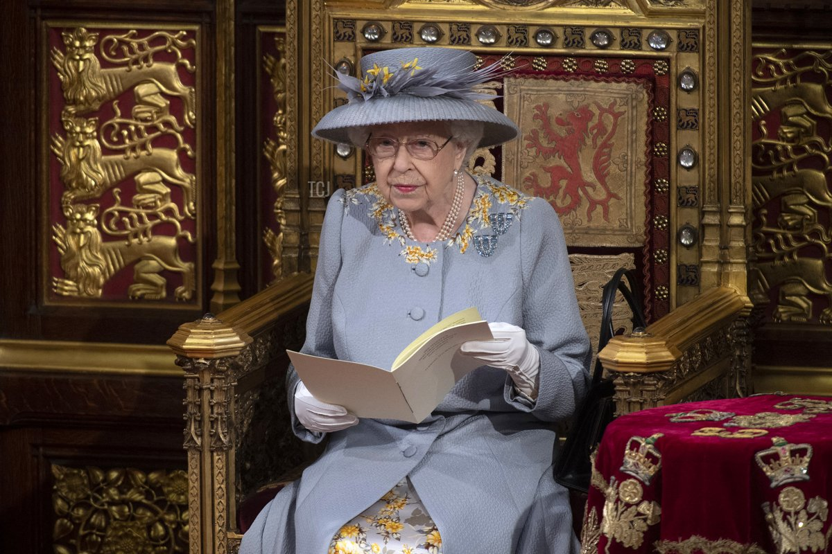 Queen Elizabeth II at the State Opening of Parliament, May 2021