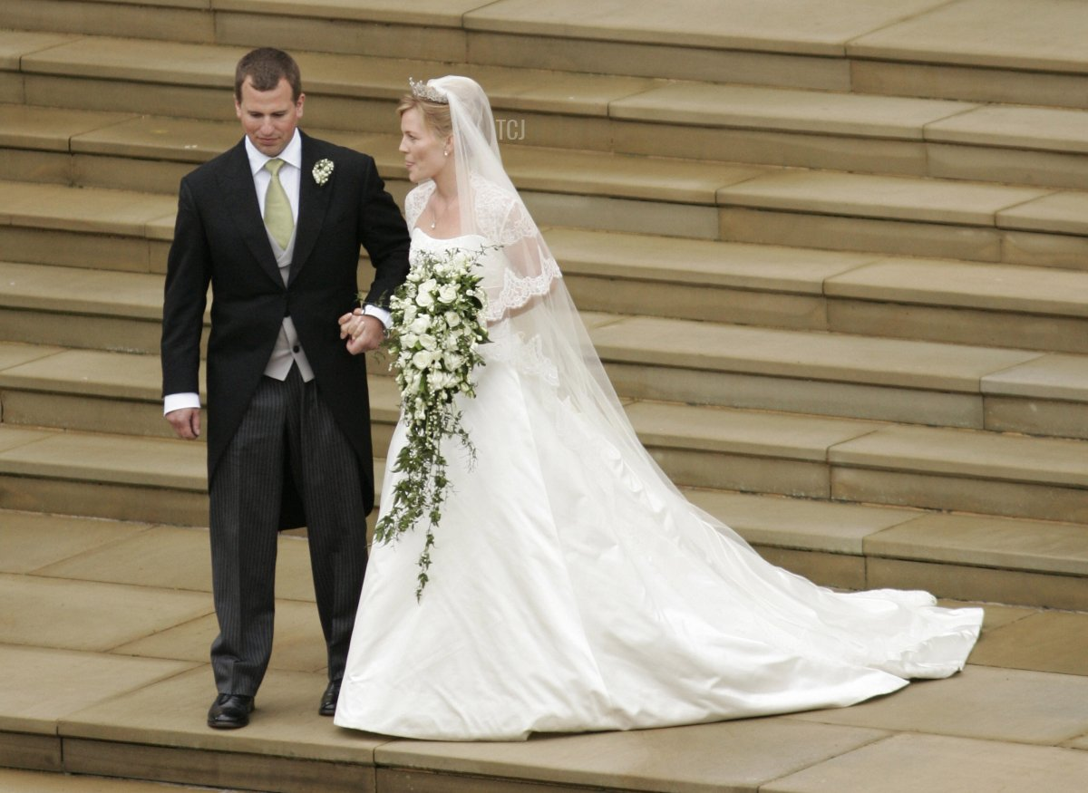 Peter Phillips 30, (L) and Autumn Kelly 31, (R) leave St George's Chapel in Windsor on May 17, 2008 after their marriage vows