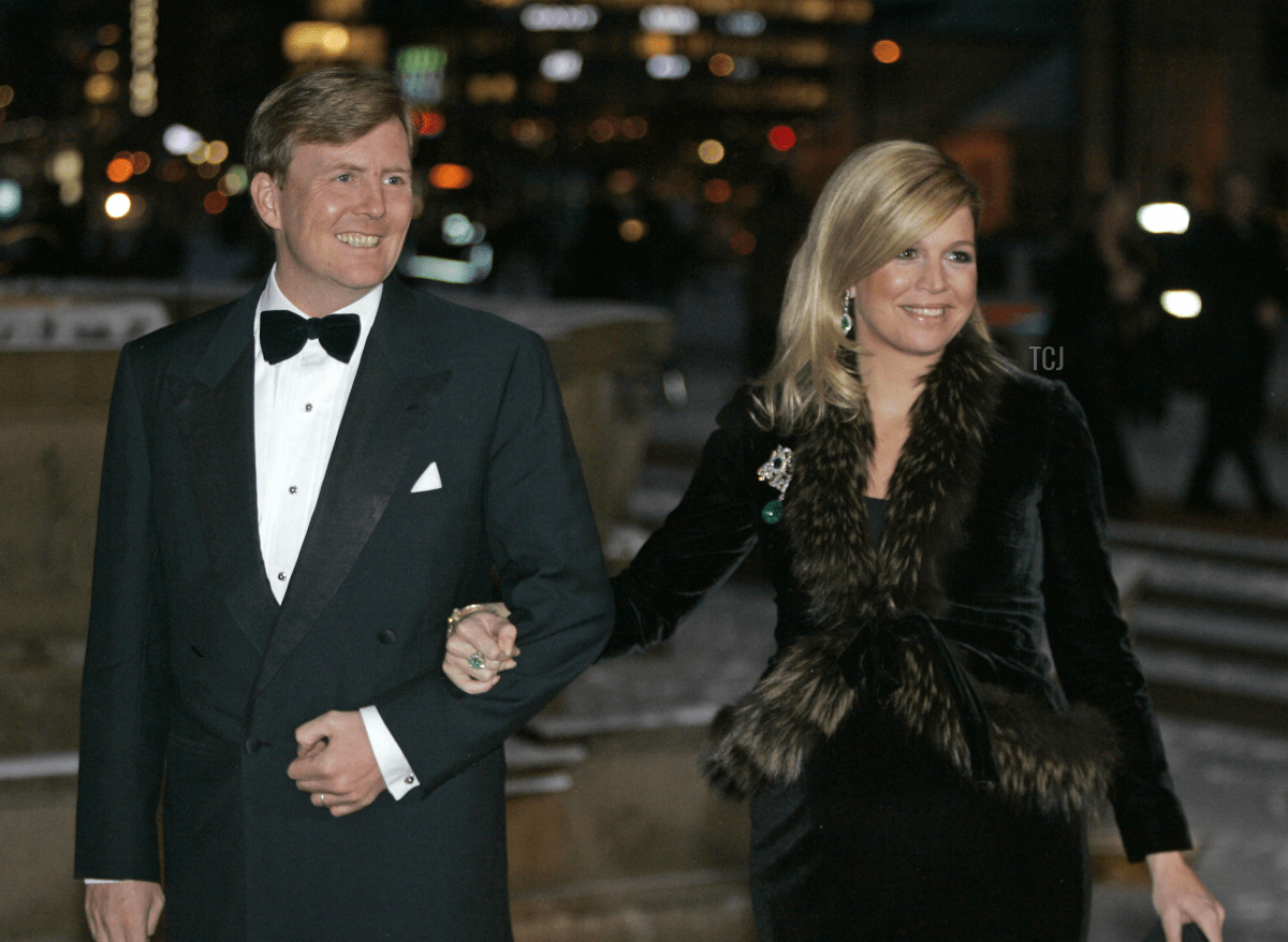 Dutch Prince Willem-Alexander and Princess Maxima arrive for Norwegian King Harald's 70th birthday celebrations 23 February 2007 at Oslo City Hall