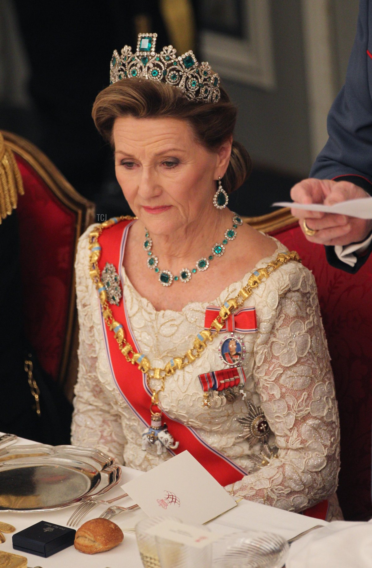 Queen Sonja of Norway attends a Gala Dinner to celebrate Queen Margrethe II of Denmark's 40 years on the throne at Christiansborg Palace Chapel on January 15, 2012