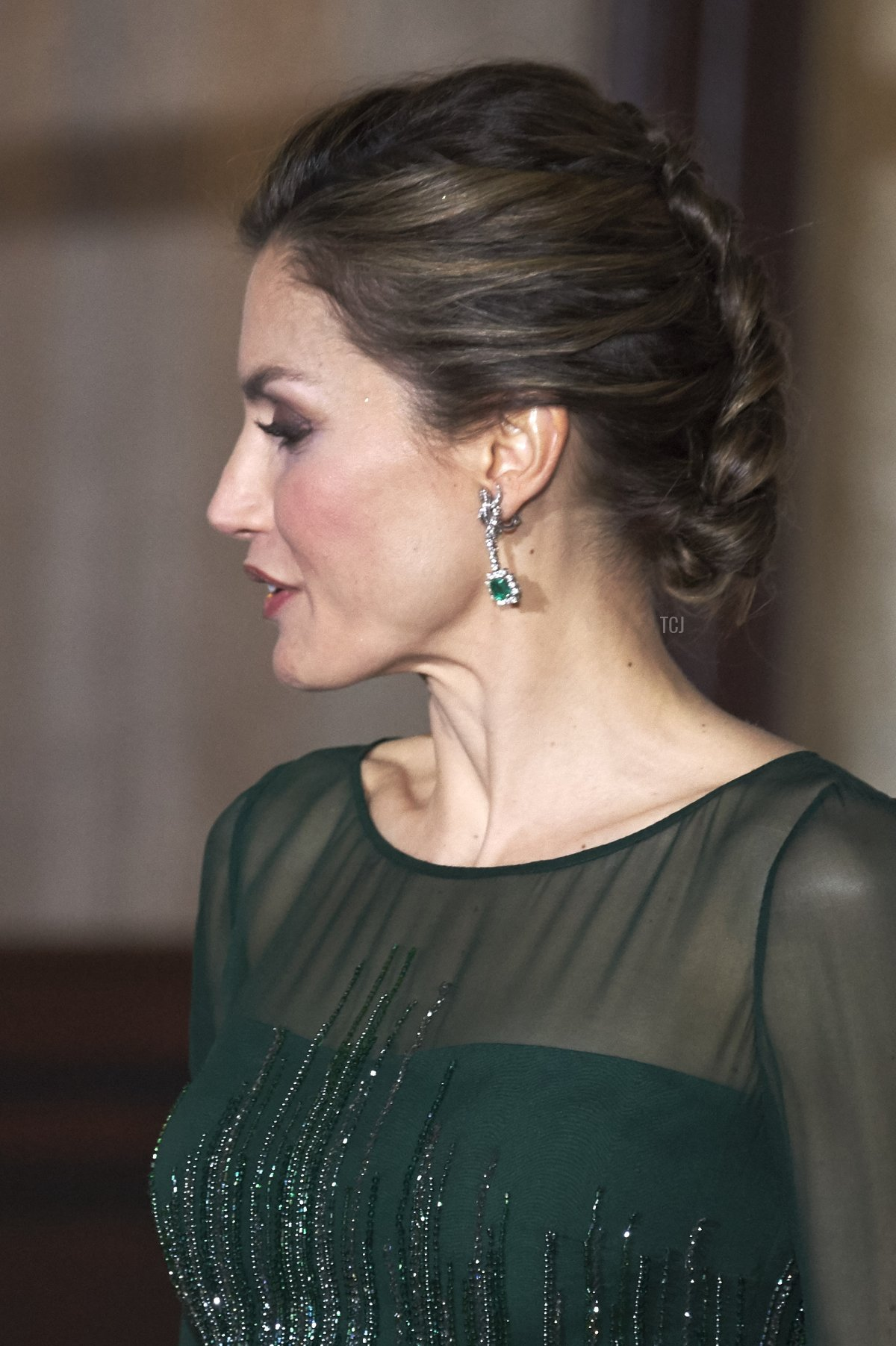 Queen Letizia of Spain attends a Gala dinner at Palacio de las Necesidades during her official visit to Portugal on November 29, 2016, in Lisbon, Portugal