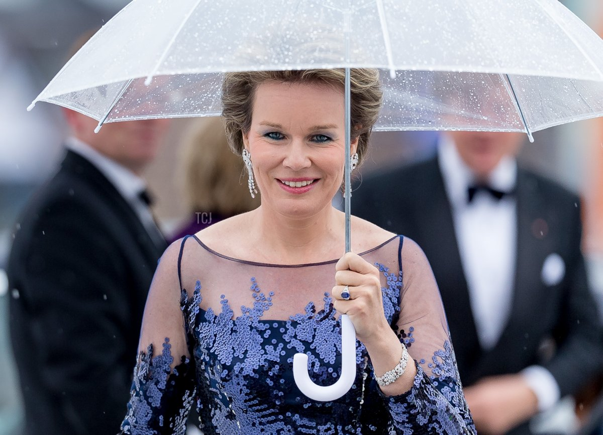 Queen Mathilde of Belgium is seen arrives at the Opera House on the occasion of the celebration of King Harald and Queen Sonja of Norway 80th birthdays on May 10 2017 in Oslo, Norway