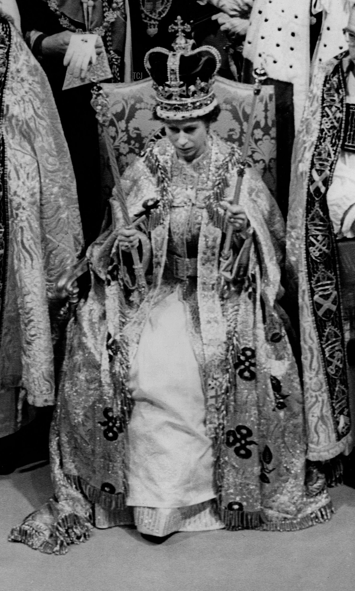 Picture taken on June 2, 1953 at London showing a moment of the coronation of Queen Elizabeth II in Westminster Abbey