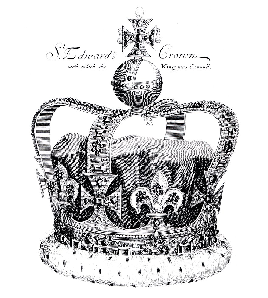 St Edward's Crown as it looked in 1685 [from Francis Sandford, The History of the Coronation of the most high, most mighty, and most excellent monarch, James II (1687)]