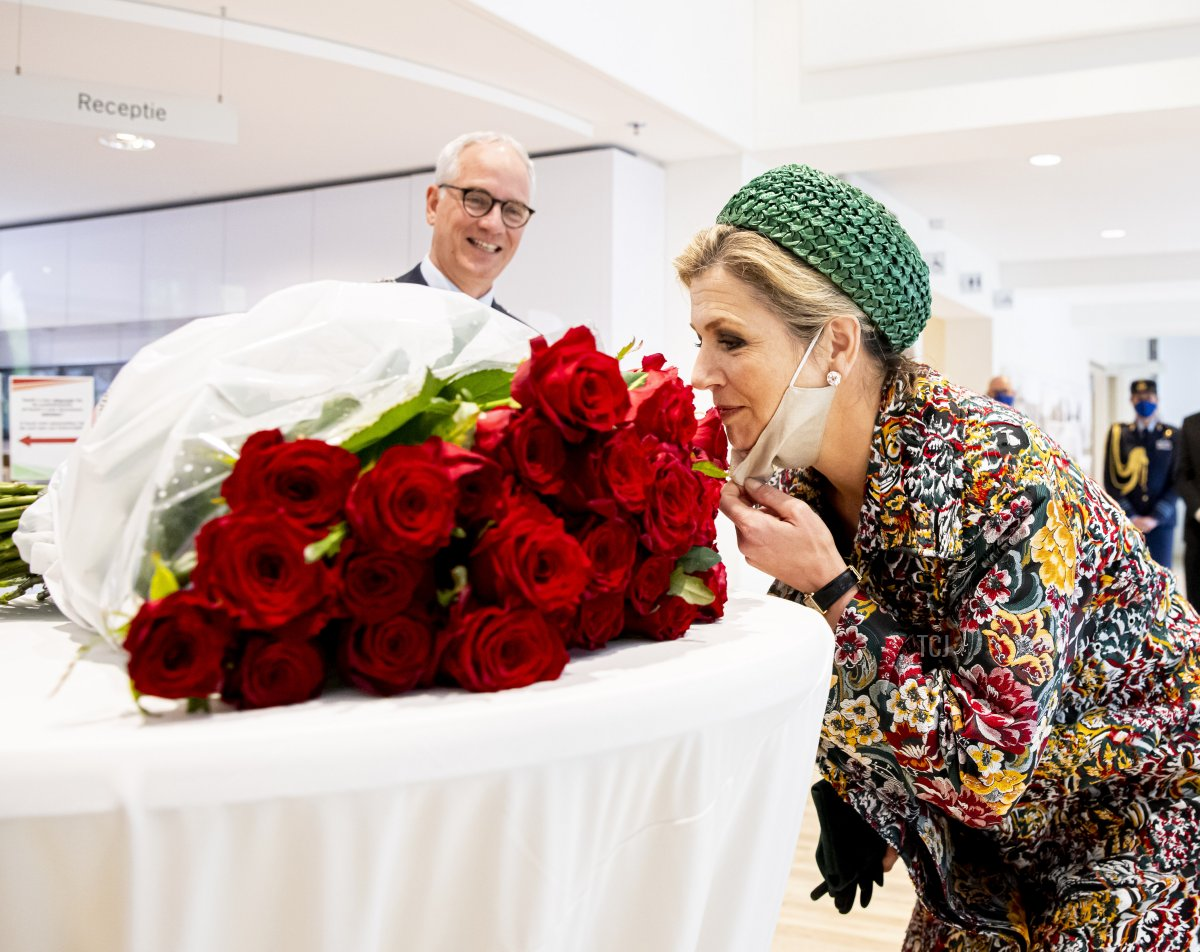 Queen Maxima of The Netherlands receives 50 roses for her recent 50th birthday during her visit to North-Limburg region on May 27, 2021 in Venlo, Netherlands