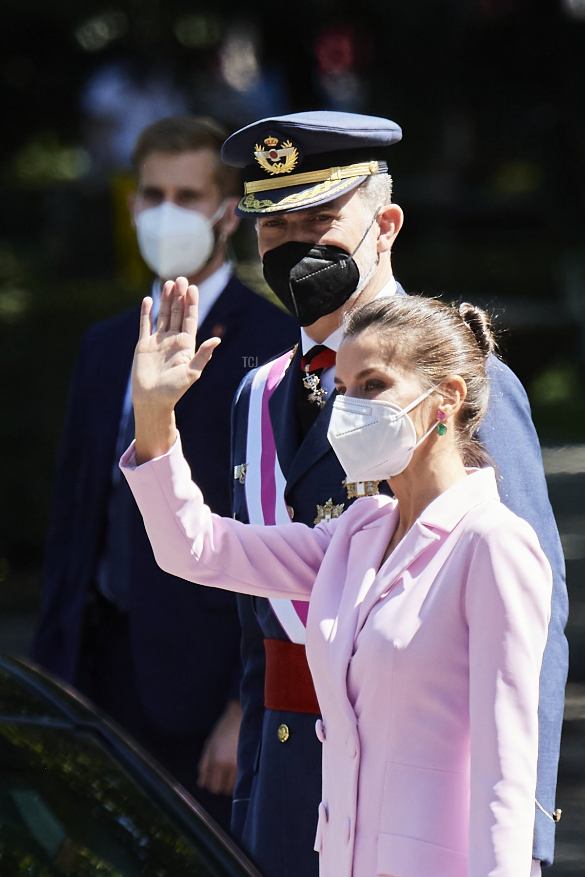 Queen Letizia of Spain attends Armed Forces day on May 29, 2021 in Madrid