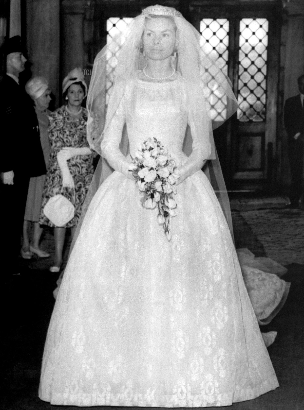 Holding her bouquet of roses, Miss Katharine Worsley leaves her Hovingham Hall home for York Minster where she will become the Duchess of Kent on her marriage to Duke of Kent