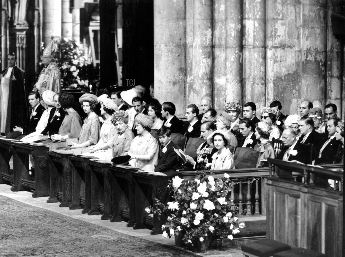 The Royal Family at the wedding of the Duke and Duchess of Kent, York Minster, 1961. Prince Edward, Duke of Kent married Katharine Worsley on 8th June 1961. The Queen, the Duke of Edinburgh, Prince Charles and the Queen Mother are in the front row