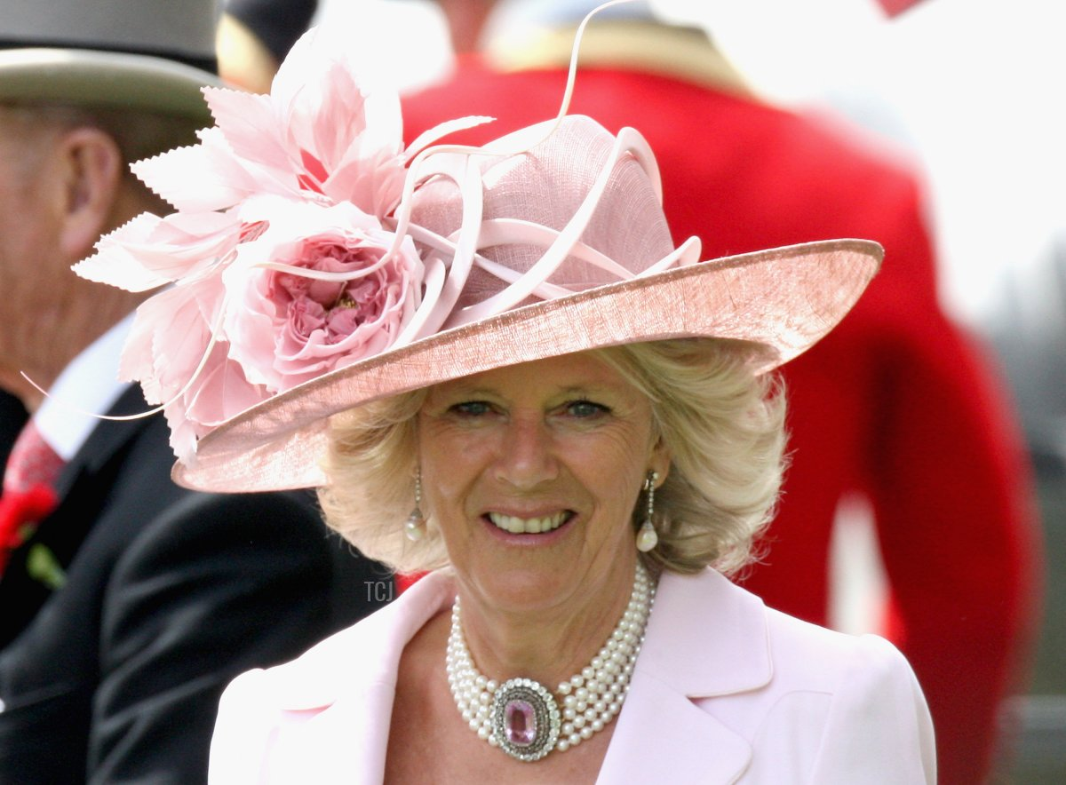 HRH Camilla, Duchess of Cornwall smiles in the parade ring in a horse drawn carriage on the second day of Royal Ascot 2009 at Ascot Racecourse on June 17, 2009 in Ascot, England