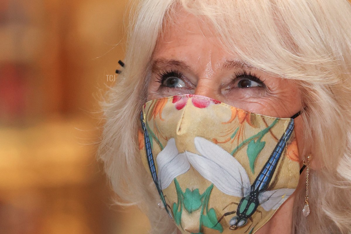 Camilla, Duchess of Cornwall viewing the Raphael Cartoons in the Raphael Court at The V&A on June 09, 2021 in London, England