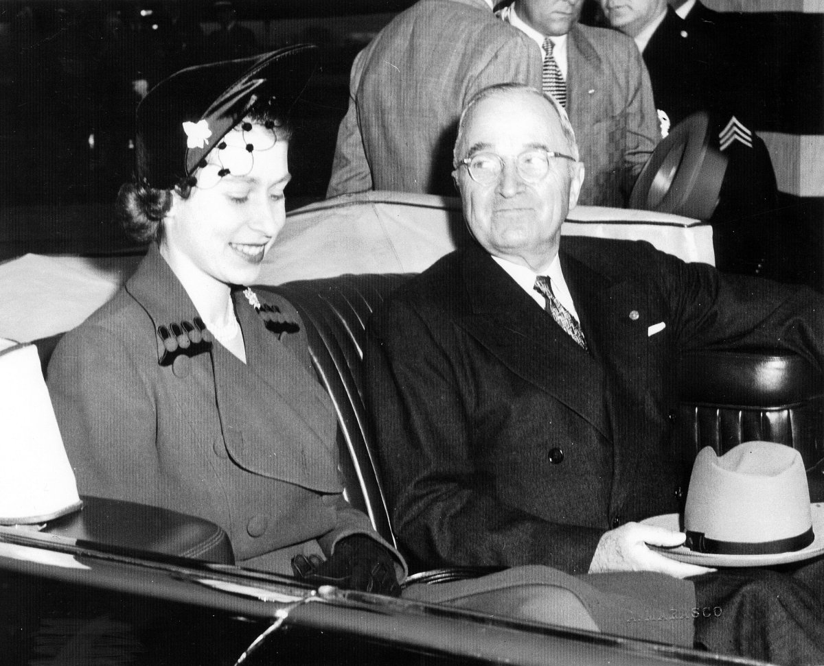 After arriving at Washington National Airport's Military Air Transport Service Terminal, England's Princess Elizabeth (left) joins President Harry S. Truman in the Chief Executive's limousine for her ride to Blair House