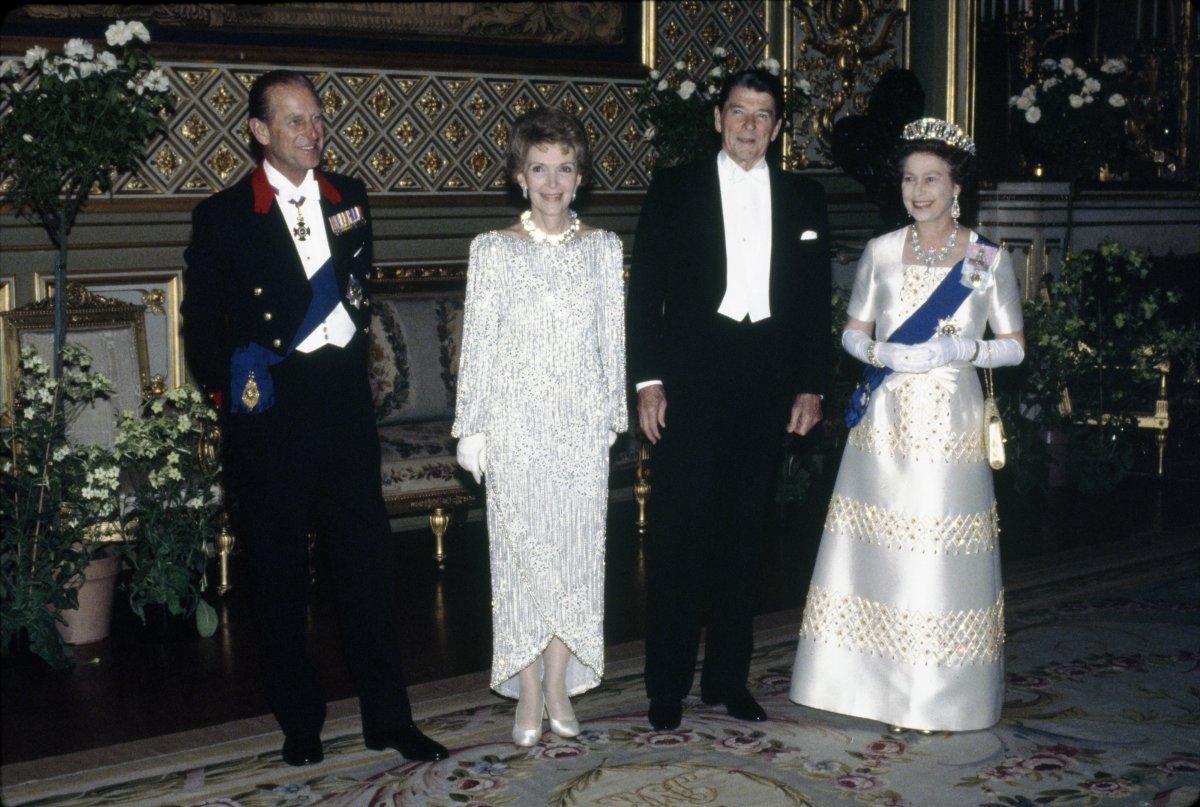 President Ronald Reagan Queen Elizabeth Ii Nancy Reagan and Prince Philip at Windsor Castle in Windsor United Kingdom