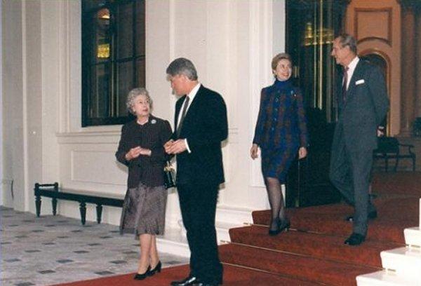 Clintons at Buckingham Palace, 1995