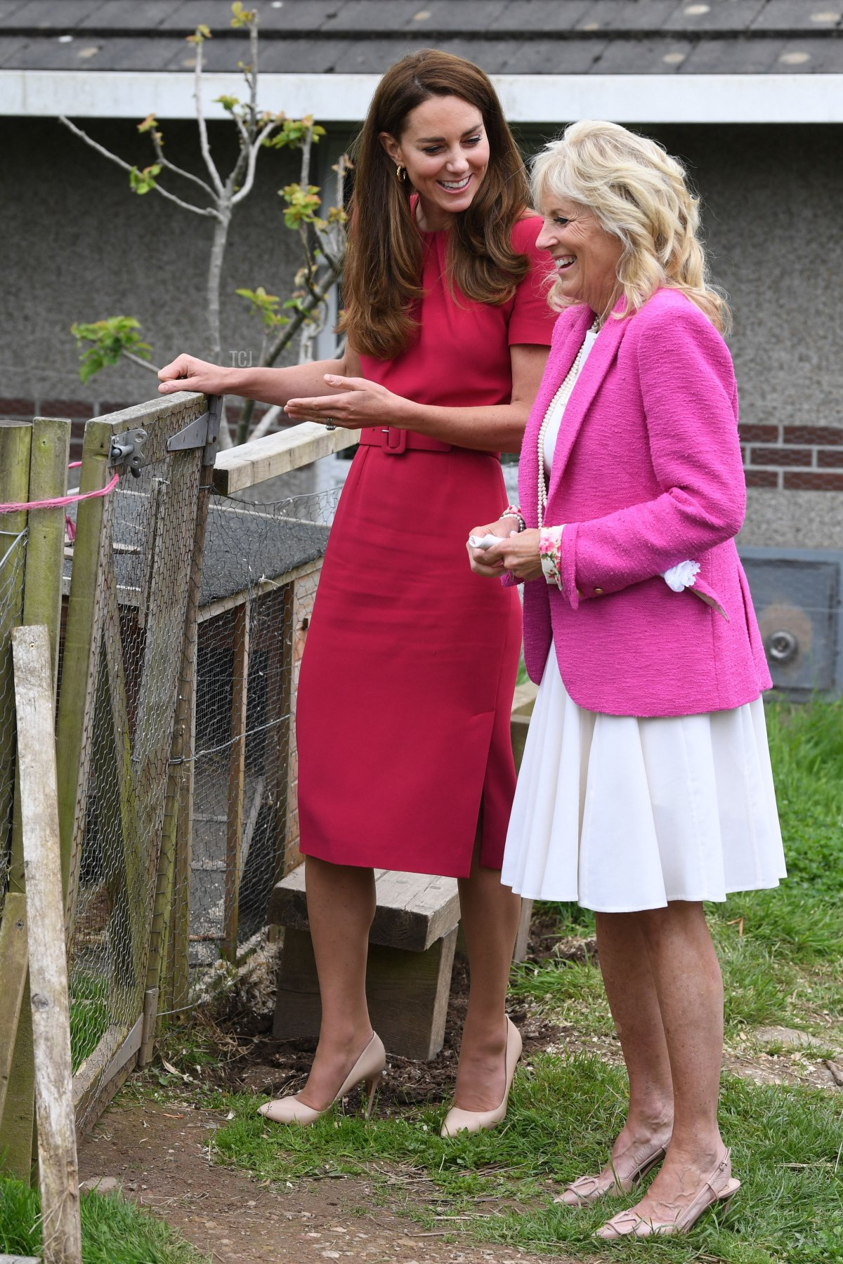 Britain's Catherine, Duchess of Cambridge (L) and US First Lady Jill Biden visit Connor Downs Academy in Hayle, Cornwall on the sidelines of the G7 summit on June 11, 2021