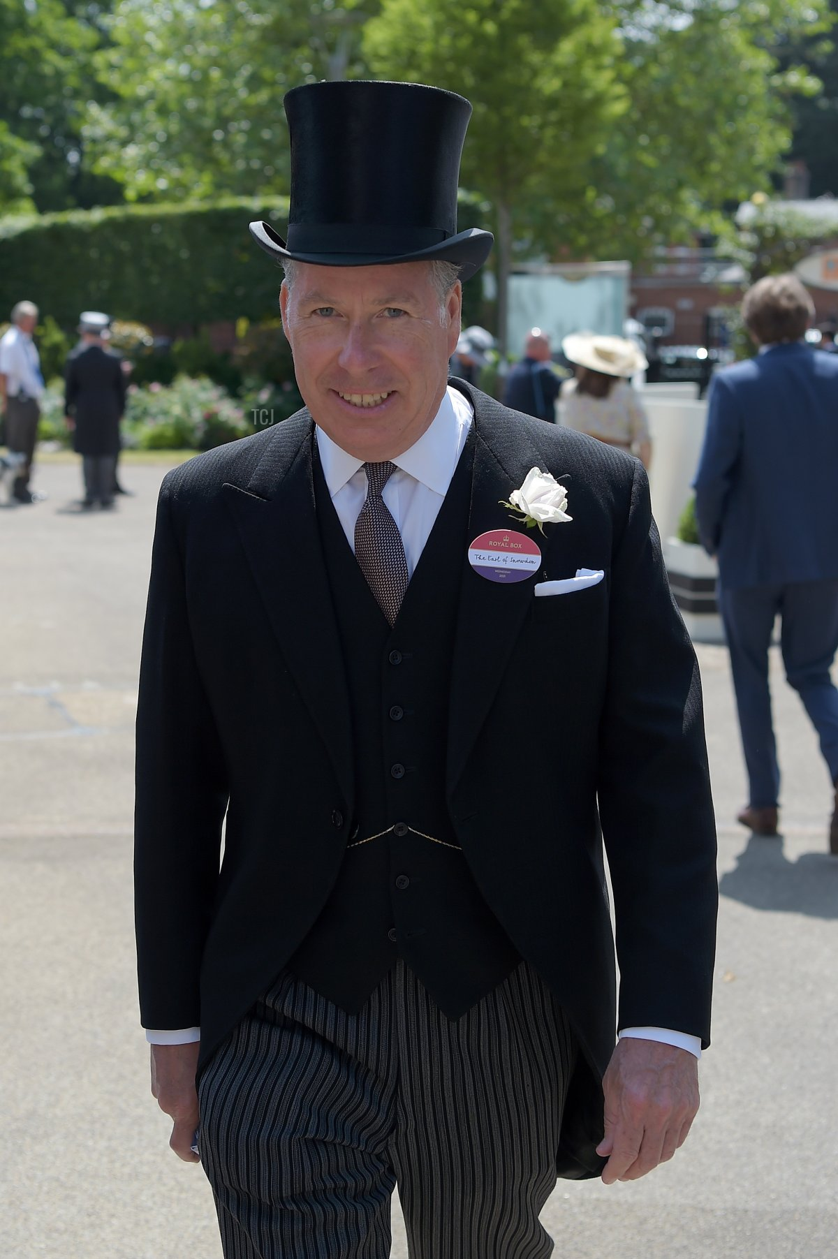 David Armstrong-Jones, 2nd Earl of Snowdon arrives at Royal Ascot 2021 at Ascot Racecourse on June 16, 2021 in Ascot, England