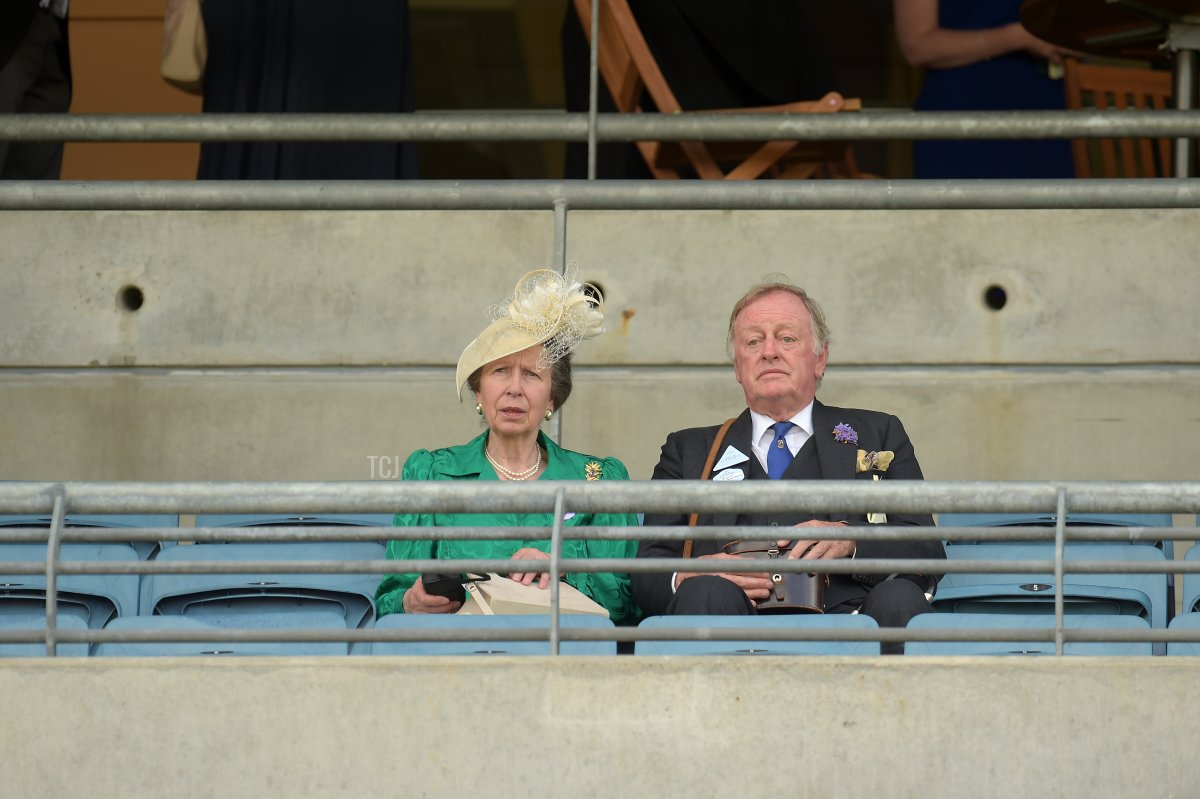 Anne, Princess Royal and Andrew Parker Bowles are seen watching a race during Royal Ascot 2021 at Ascot Racecourse on June 16, 2021 in Ascot, England