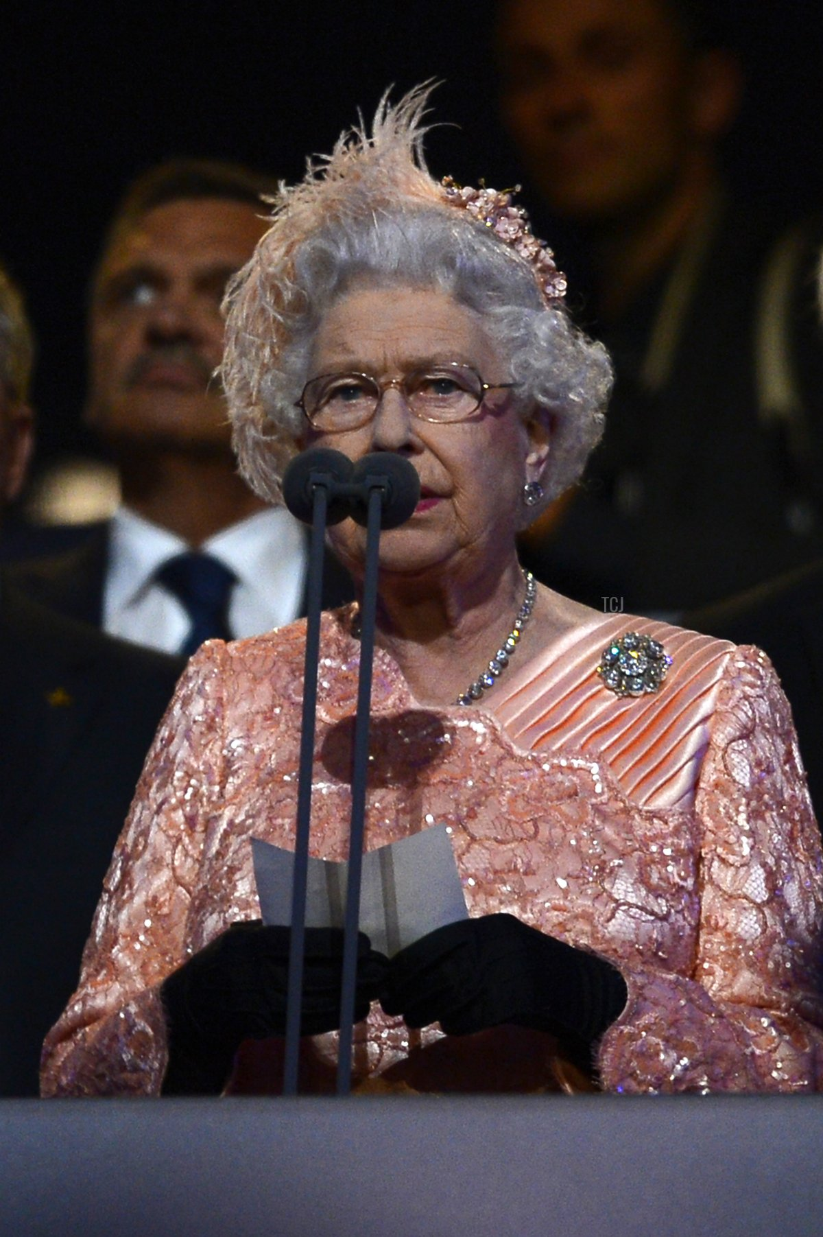 Britain's Queen Elizabeth II declares the London 2012 Olympic Games open during the opening ceremony on July 27, 2012 at the Olympic Stadium in London