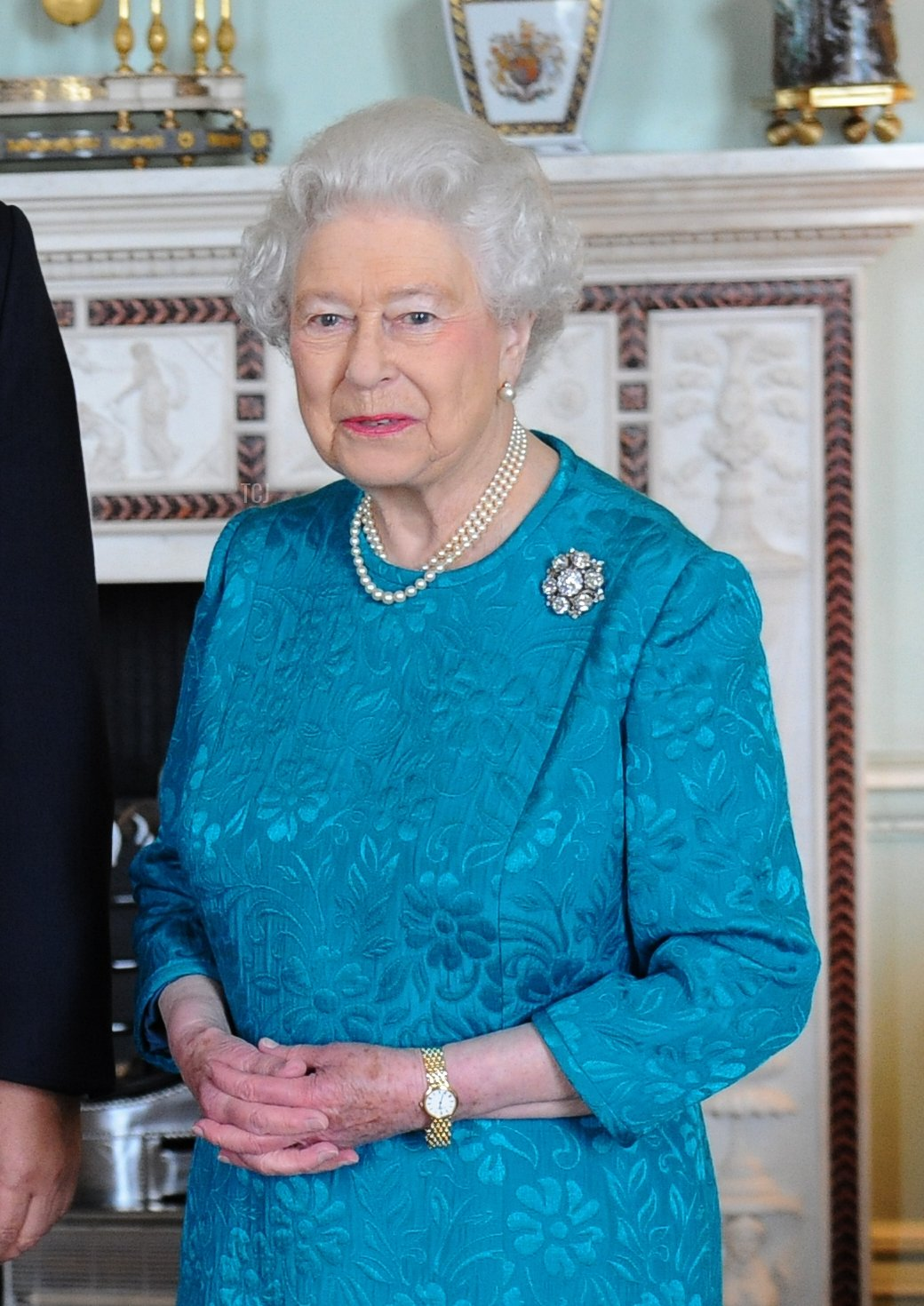 Queen Elizabeth II meets the King Tupou VI of Tonga at Buckingham Palace on October 10, 2013 in London, England