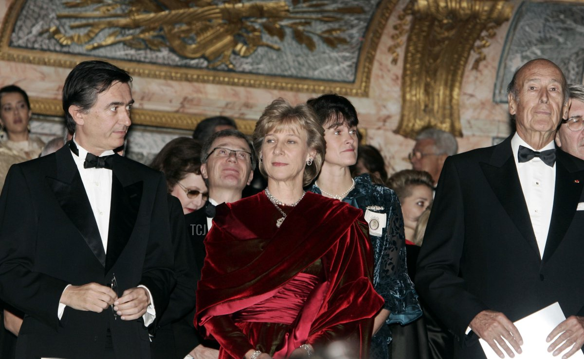 Philippe Douste Blasy, Duchess of Gloucester, and Valery Giscard D'estaing attend the Child Abuse Foundation Gala at the Castle of Versailles on December 6, 2004 in Versailles, France