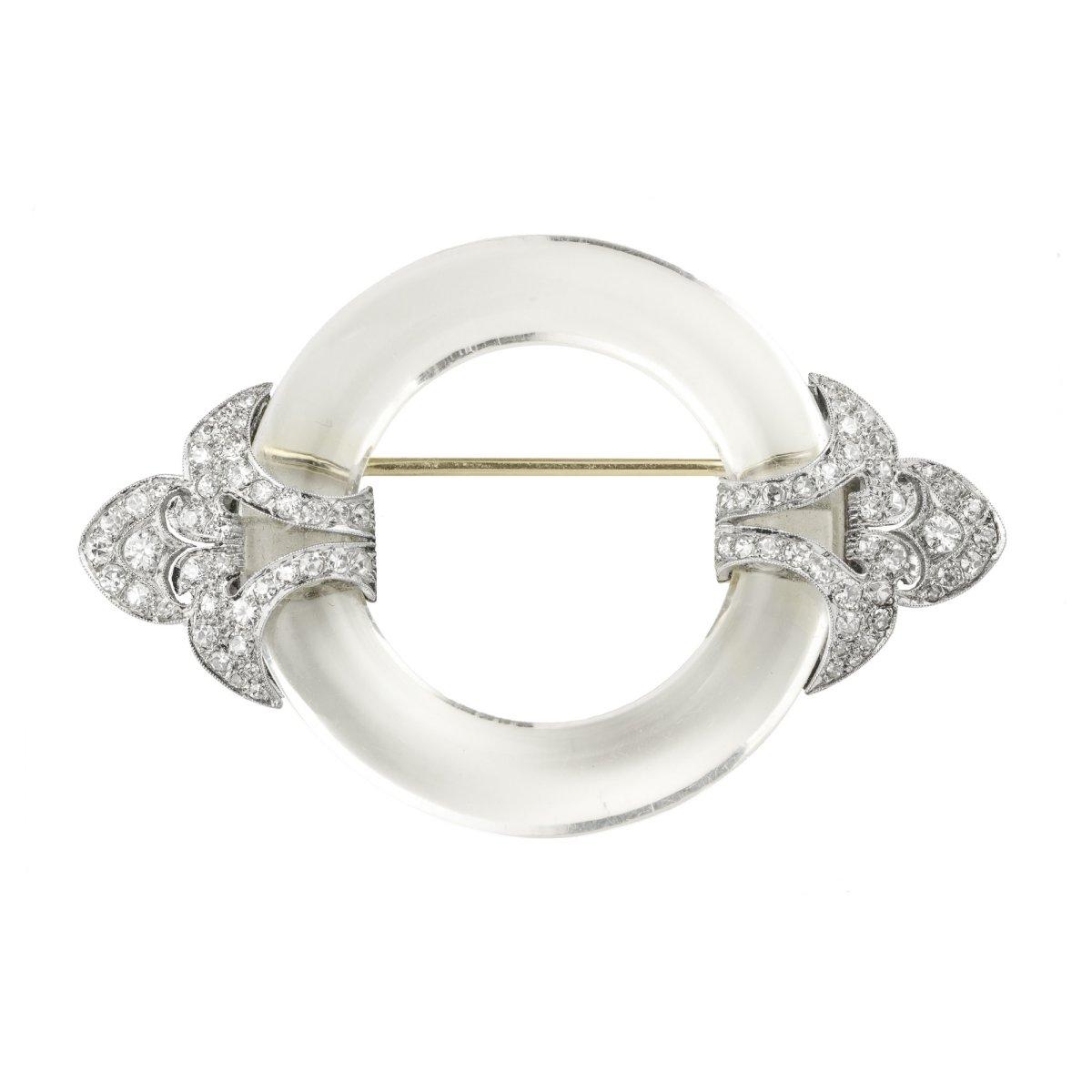A diamond and rock crystal brooch, ca. 1925