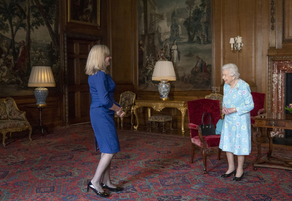 Queen Elizabeth II receives Presiding Officer of the Scottish Parliament Alison Johnstone during an audience at the Palace of Holyroodhouse on June 29, 2021 in Edinburgh, Scotland