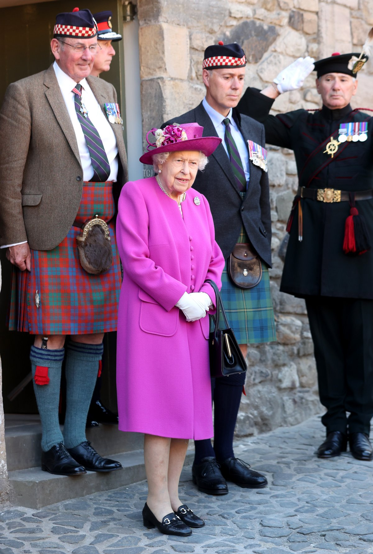 Queen Elizabeth II opens the Argyll and Sutherland Highlanders' Museum during a visit to Stirling Castle on June 29, 2021 in Stirling, Scotland