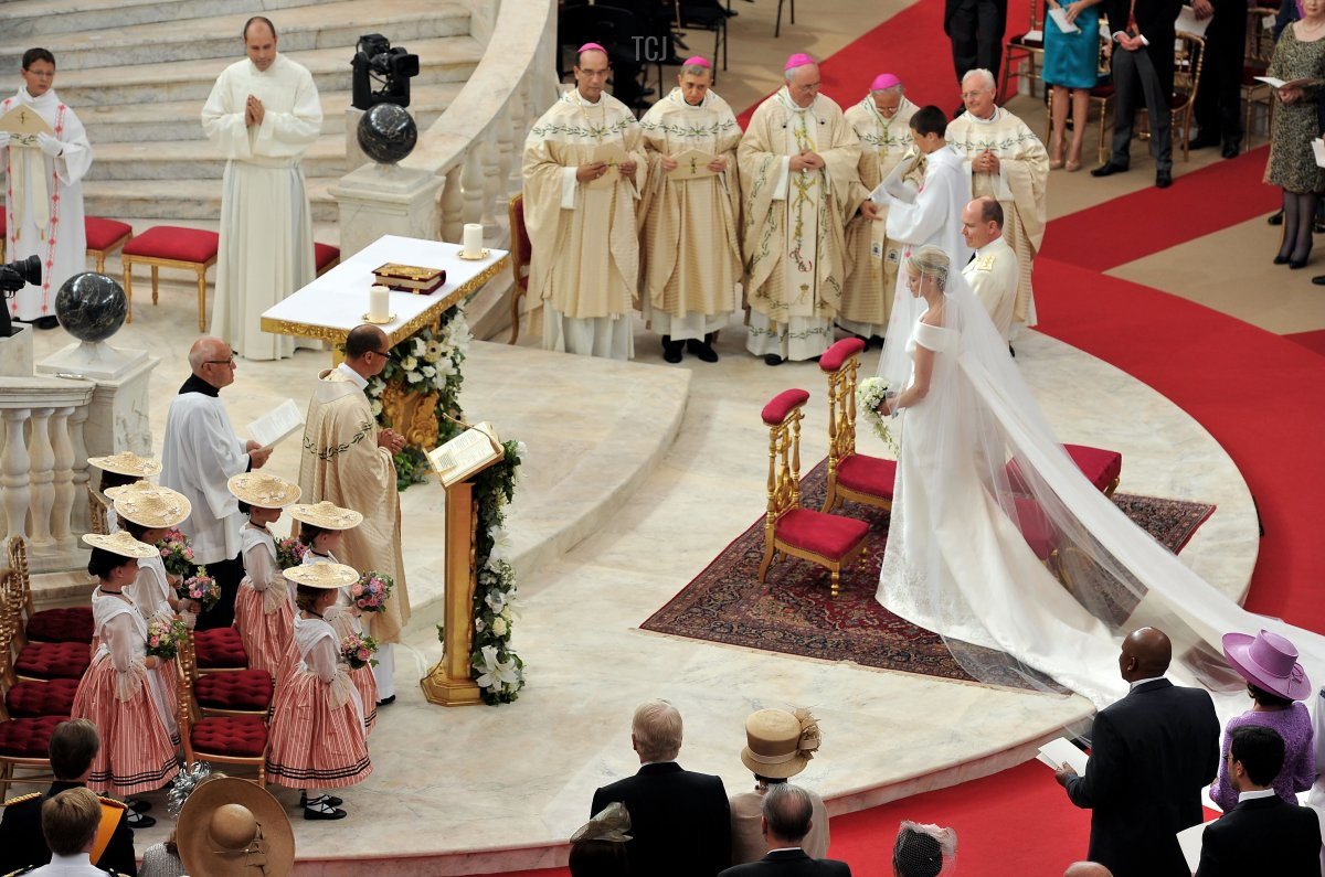 An overview on the religious ceremony of the Royal Wedding of Prince Albert II of Monaco to Charlene Wittstock in the main courtyard at Prince's Palace on July 2, 2011 in Monaco