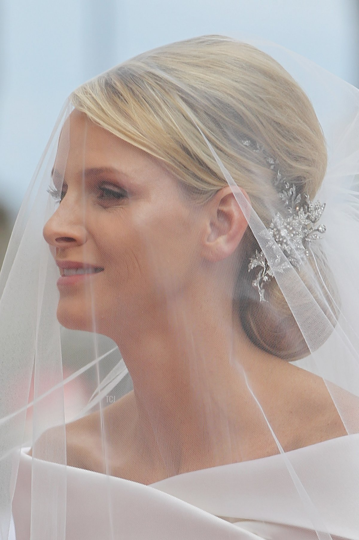 Princess Charlene of Monaco arrives for the religious ceremony of her Royal Wedding to Prince Albert II of Monaco in the main courtyard at Prince's Palace on July 2, 2011 in Monaco