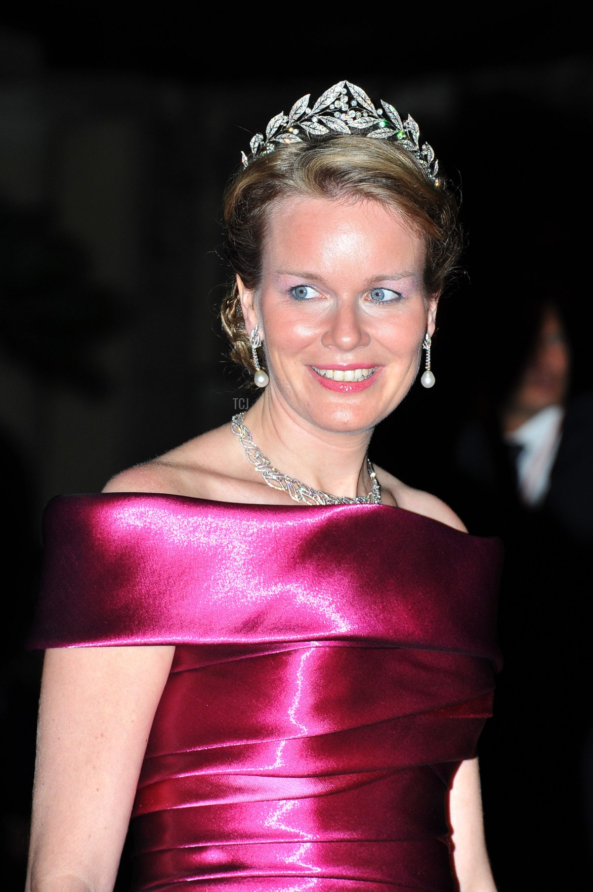 Crown Princess Mathilde attends a dinner at Opera terraces after the religious wedding ceremony on July 2, 2011 in Monaco