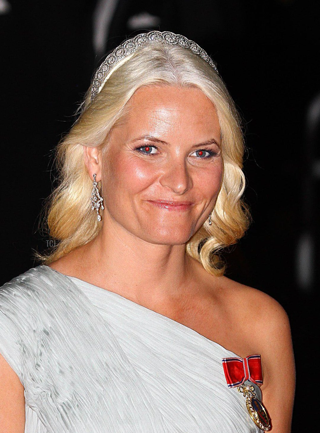 Princess Mette Marit arriving for the official dinner for Prince Albert II of Monaco and Charlene Wittstock at the Monte Carlo Opera House