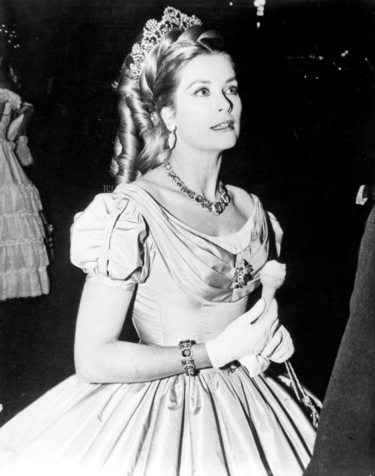 Princess Grace of Monaco wears a diamond floral tiara at the Century Ball, celebrating Monte-Carlo's 100th anniversary, May 1966