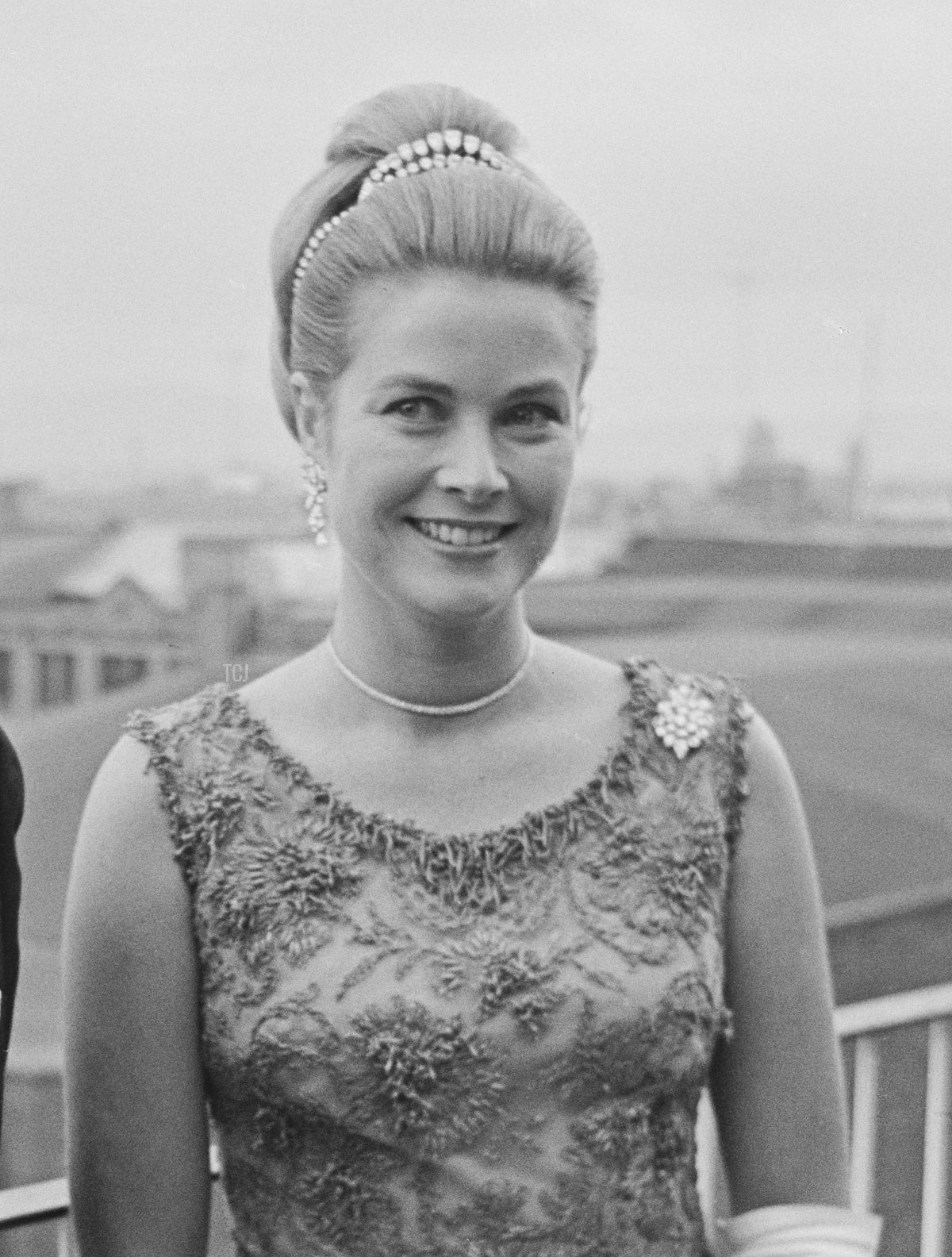 Rainier III, Prince of Monaco (1923-2005) and Princess Grace of Monaco, wearing a dress by Givenchy, attend the Bal Petits Lits Blancs at Powerscourt in Enniskerry, County Wicklow, Ireland, 6th July 1965