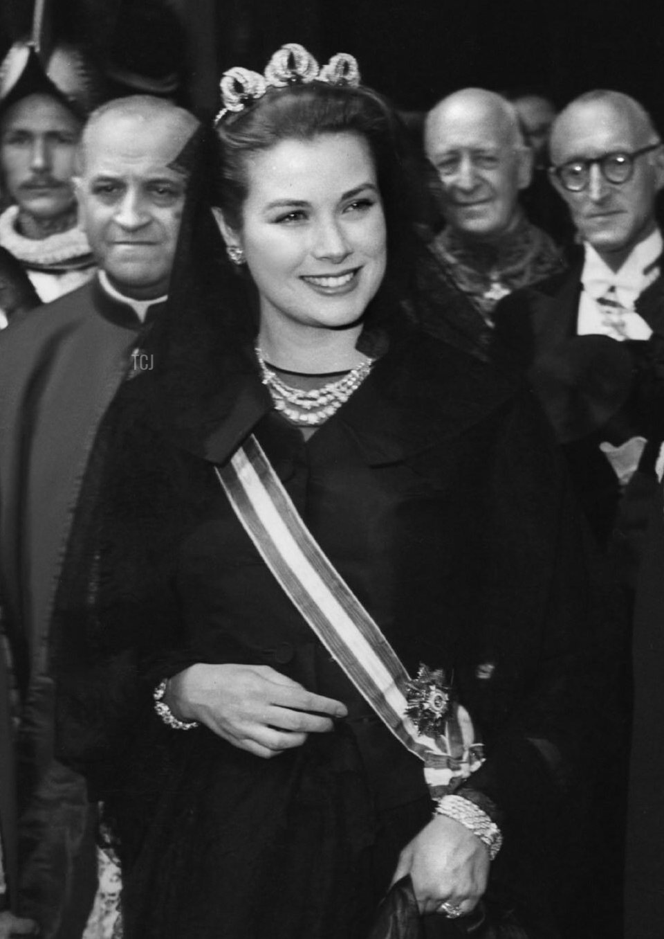Princess Grace of Monaco wears the Bains de Mer Tiara for a private audience with Pope Pius XII at the Vatican, 30 April 1957