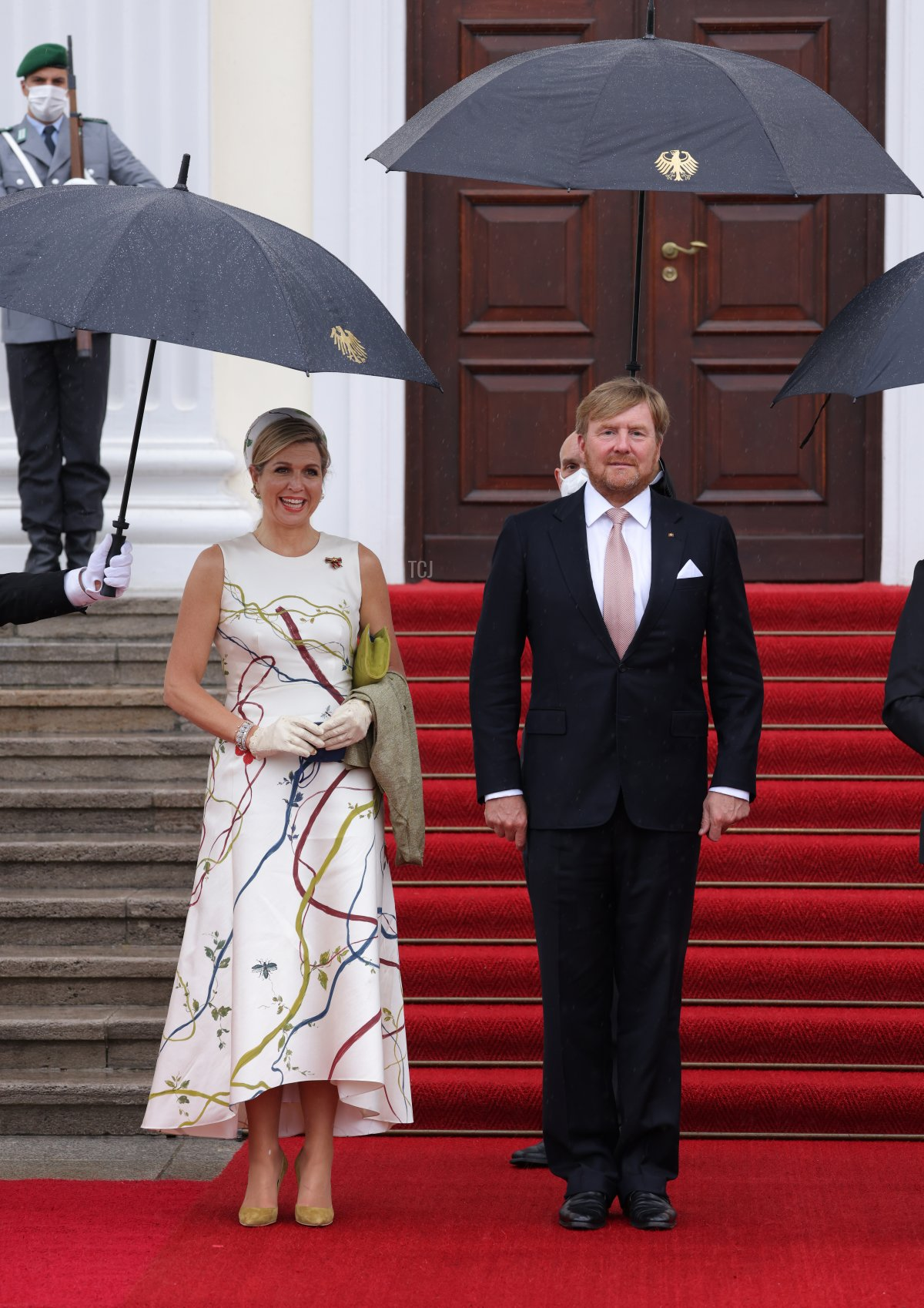 King Willem-Alexander and Queen Maxima of the Netherlands arrive at Castle Bellevue on July 05, 2021 in Berlin, Germany