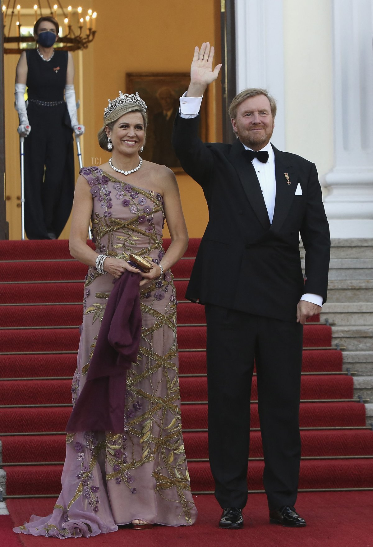 King Willem-Alexander and Queen Maxima of the Netherlands arrive for a state dinner in their honour at the Bellevue presidential palace in Berlin on July 5, 2021