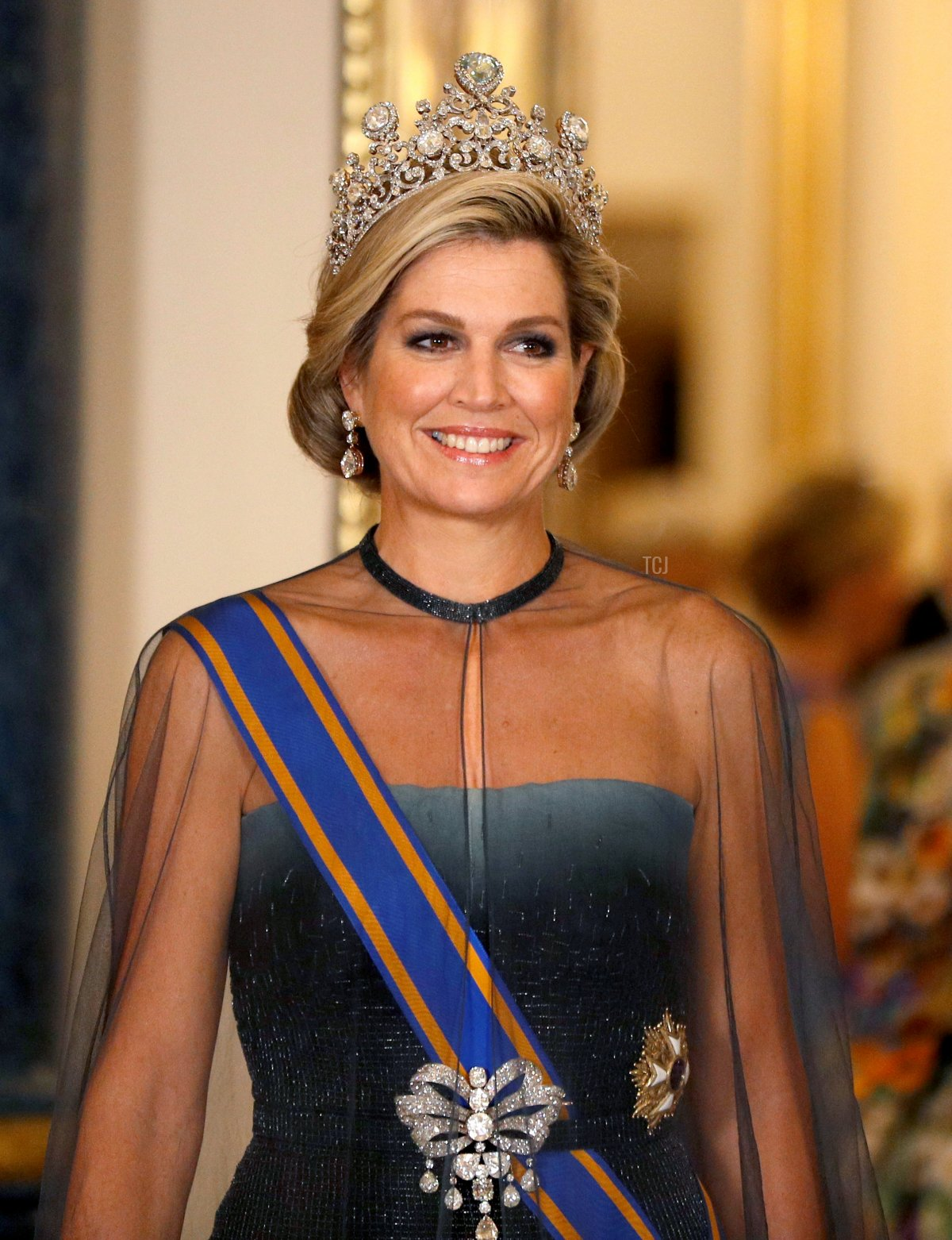 Queen Maxima of The Netherlands wears the Stuart Tiara during a State Banquet at Buckingham Palace on October 23, 2018 in London