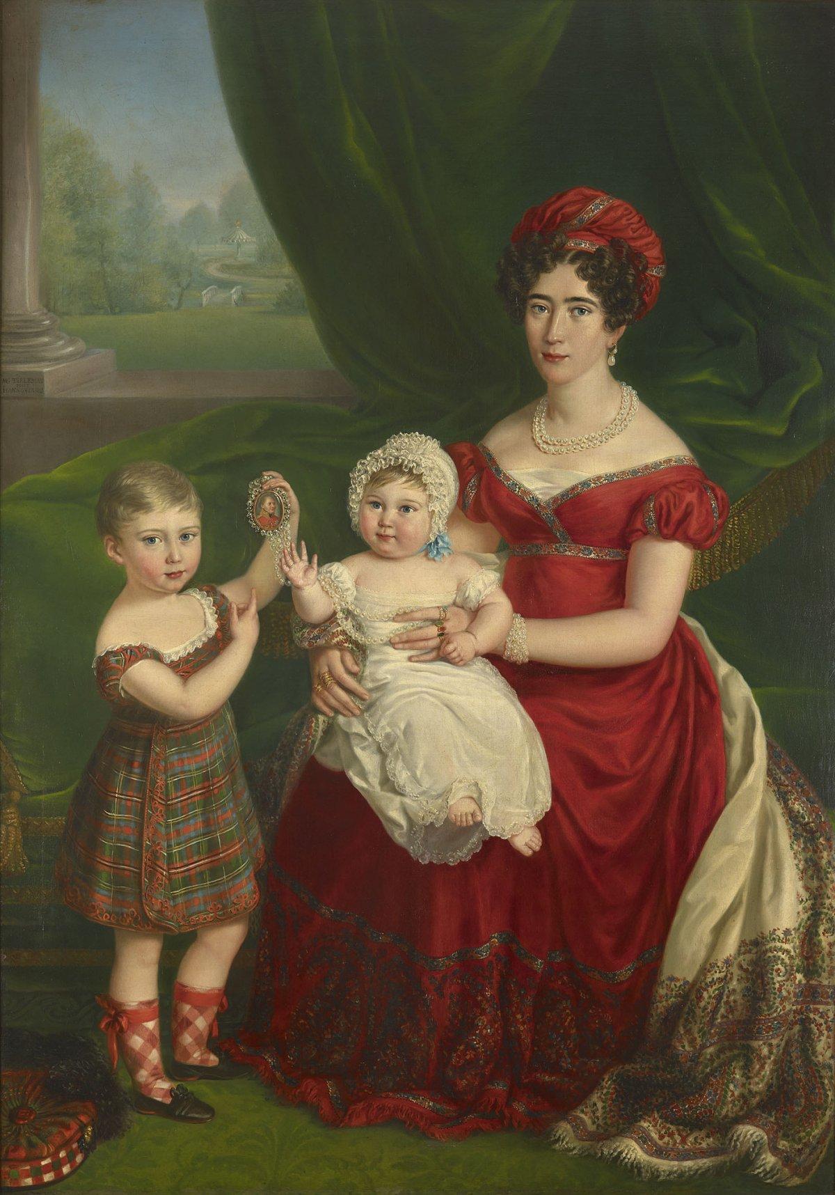 Augusta, Duchess of Cambridge (1797-1889) with her children Prince George (1819-1904) and Princess Augusta of Cambridge (1822-1916)