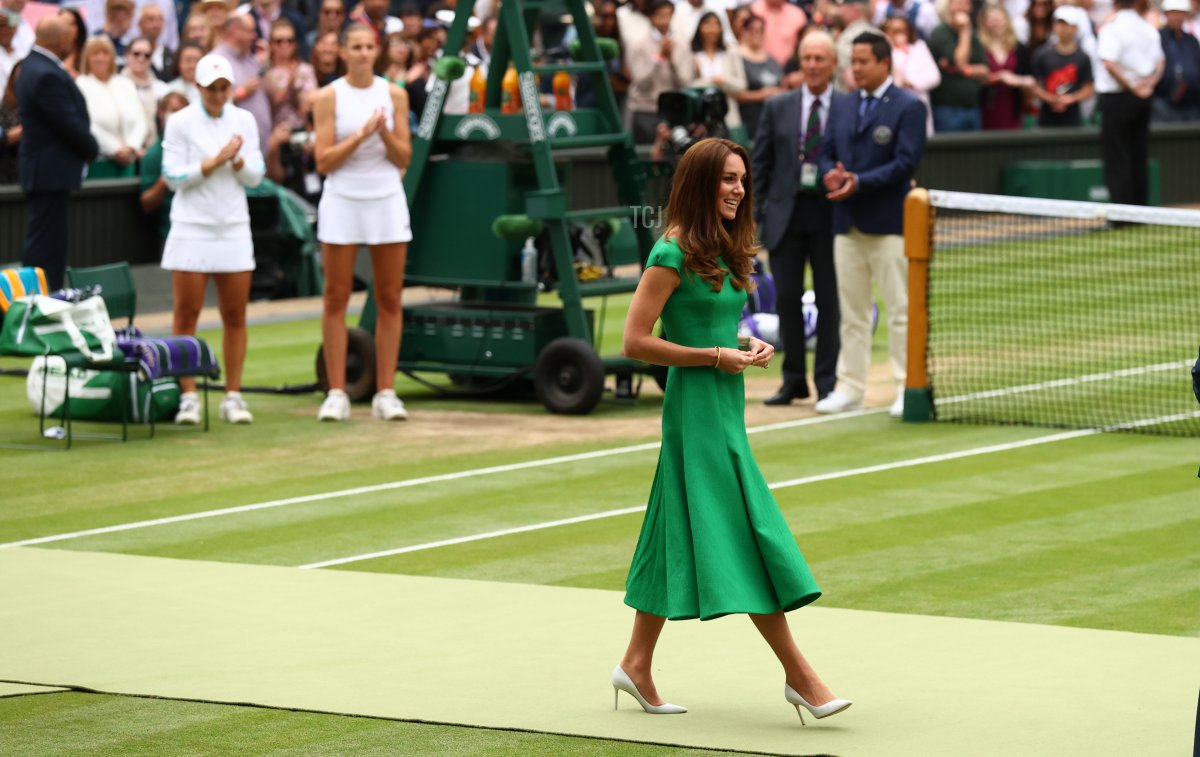 HRH Catherine, The Duchess of Cambridge after the Ladies' Singles Final match between Ashleigh Barty of Australia and Karolina Pliskova of The Czech Republic on Day Twelve of The Championships - Wimbledon 2021 at All England Lawn Tennis and Croquet Club on July 10, 2021 in London, England