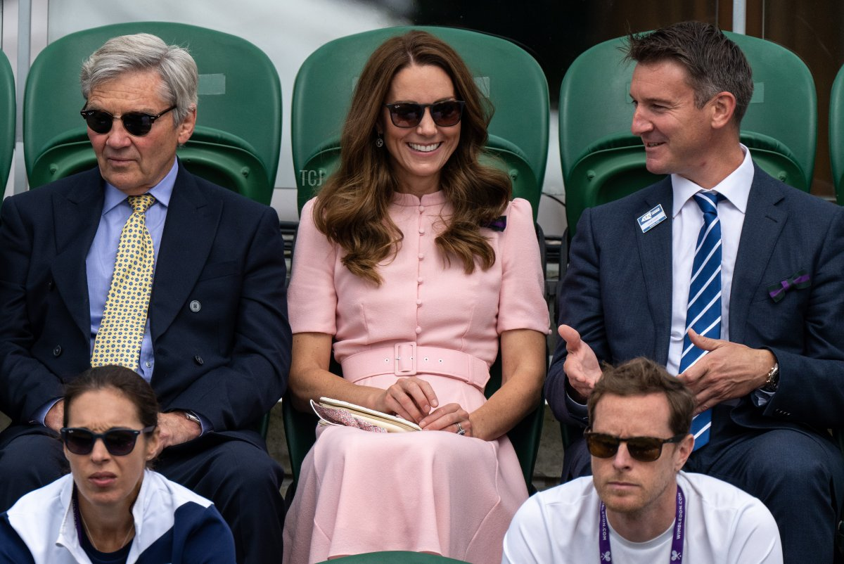 Catherine, Duchess of Cambridge is seen in the stands during Day Thirteen of The Championships - Wimbledon 2021 at All England Lawn Tennis and Croquet Club on July 11, 2021 in London, England
