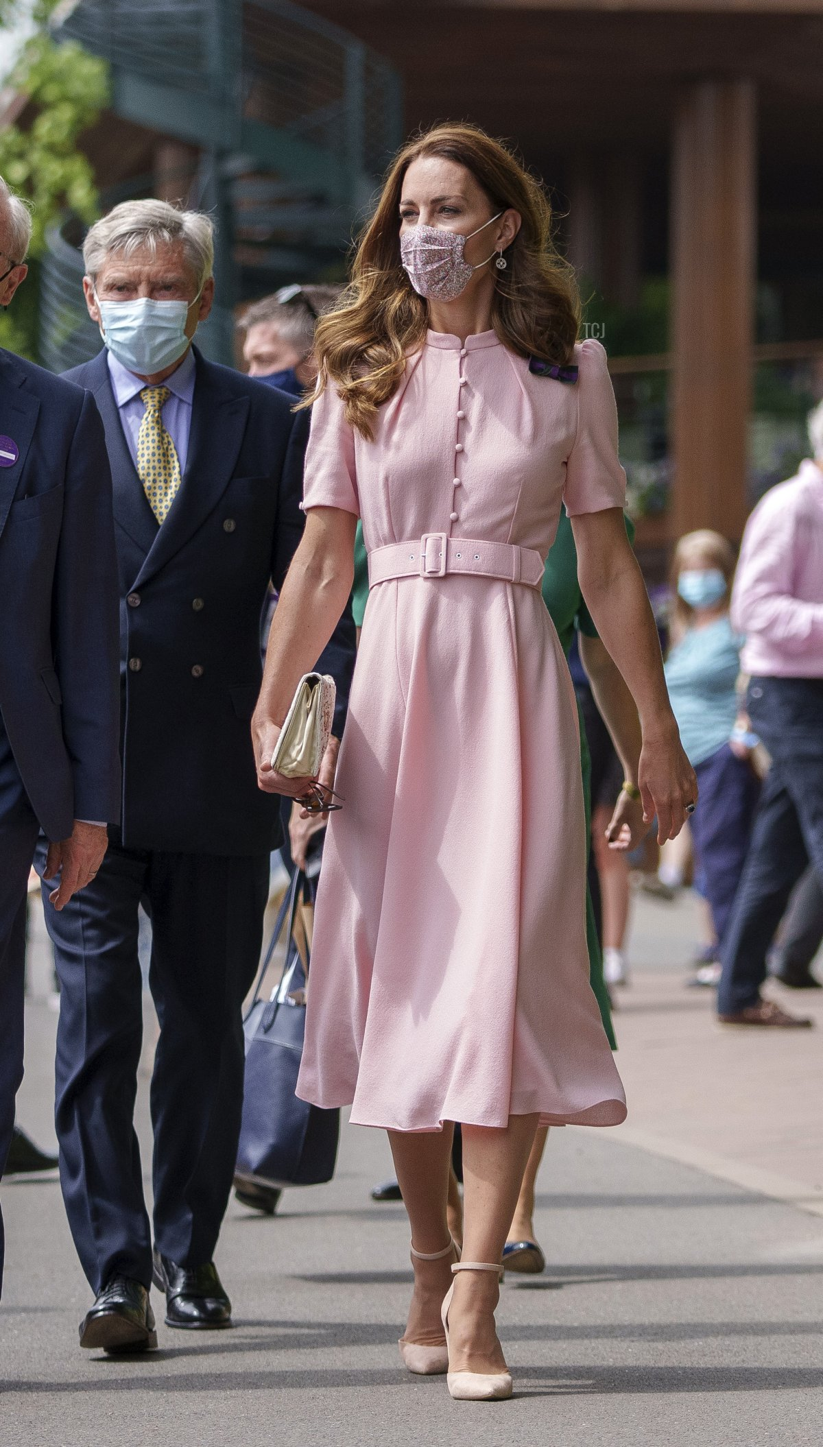 Catherine, Duchess of Cambridge Patron of the All England Lawn Tennis Club and her father Michael Middleton during Day Thirteen of The Championships - Wimbledon 2021 at All England Lawn Tennis and Croquet Club on July 11, 2021 in London, England
