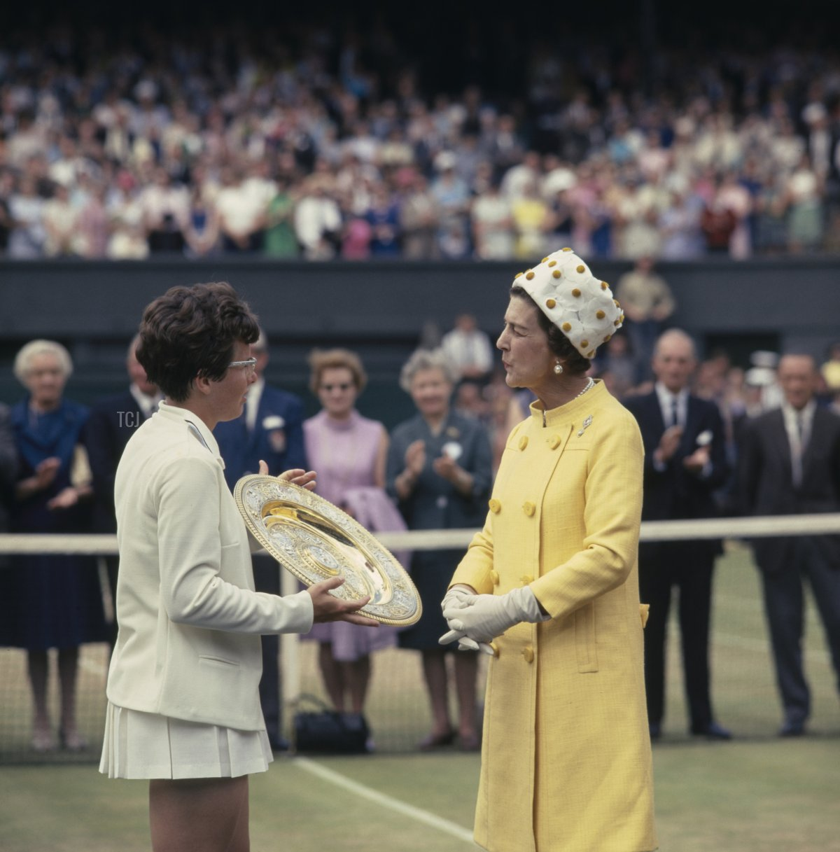 Billie Jean King of the United States is presented with the Venus Rosewater Dish by Princess Marina, Duchess of Kent after defeating Ann Jones at the Women's Singles Final match at the Wimbledon Lawn Tennis Championship on 7th July 1967 at the All England Lawn Tennis and Croquet Club in Wimbledon, London, England