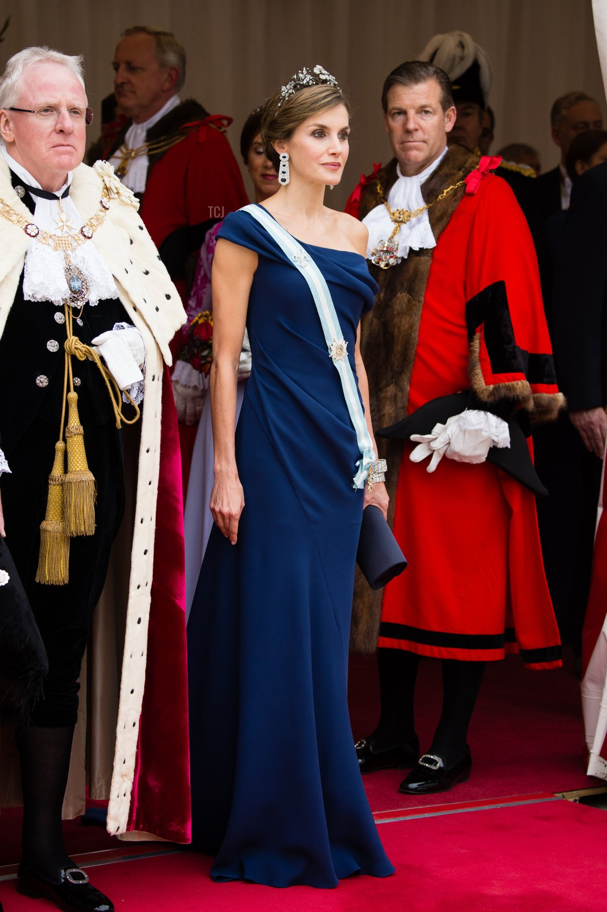 Queen Letizia of Spain attends the Lord Mayor's Banquet at the Guildhall during a State visit by the King and Queen of Spain on July 13, 2017 in London, England