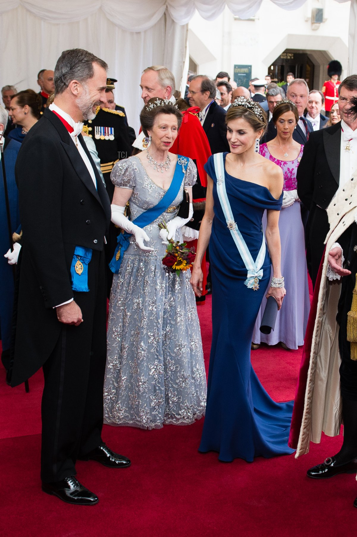 King Felipe VI of Spain, Princess Anne, Princess Royal and Queen Letizia of Spain attend the Lord Mayor's Banquet at the Guildhall during a State visit by the King and Queen of Spain on July 13, 2017 in London, England
