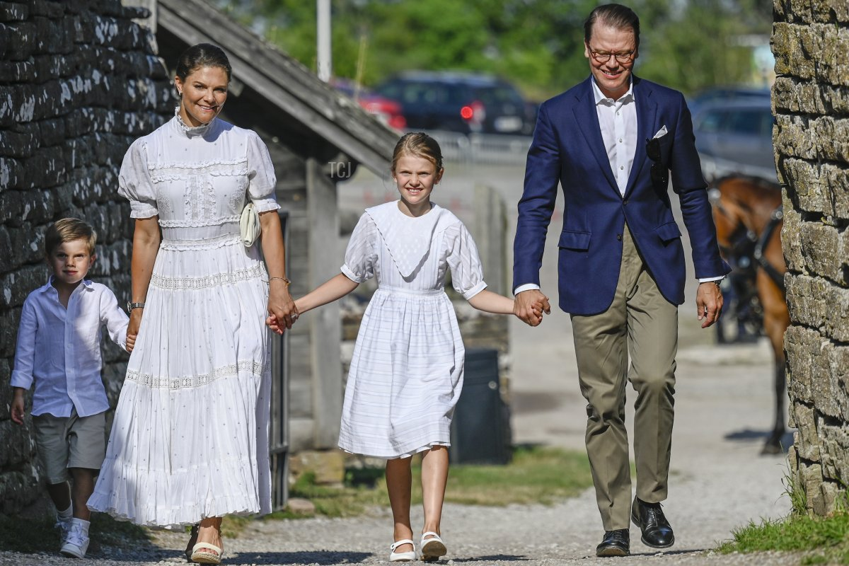 Crown Princess Victoria's 44th birthday celebrations at Borgholm's castle ruins on July 14, 2021 in Borgholm, Sweden