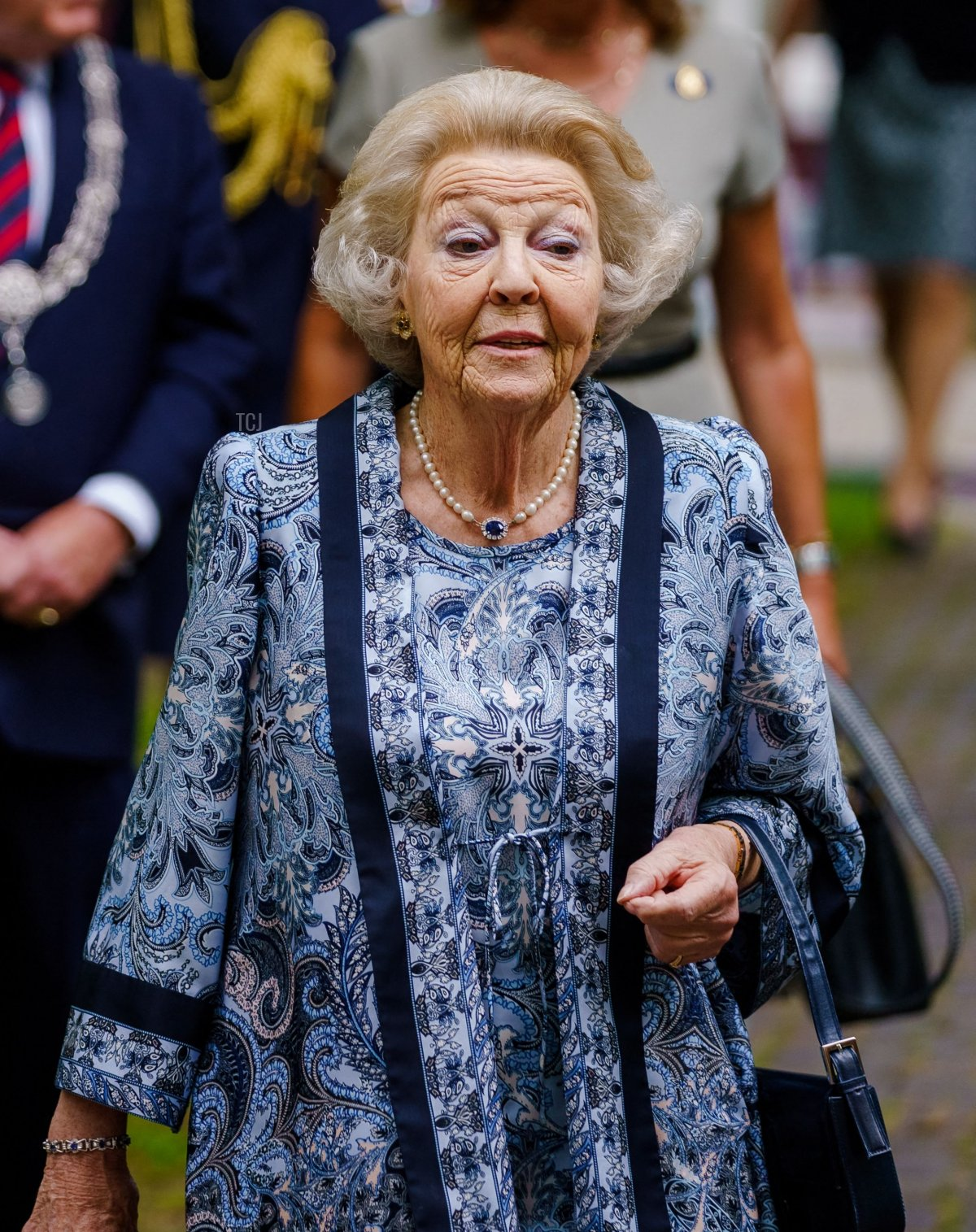 Dutch Princess Beatrix visits the sculpture exhibition 'Voorhout Monumentaal' at the Pulchri Studio, an artists' association and gallery for contemporary art, in The Hague on July 12 2021
