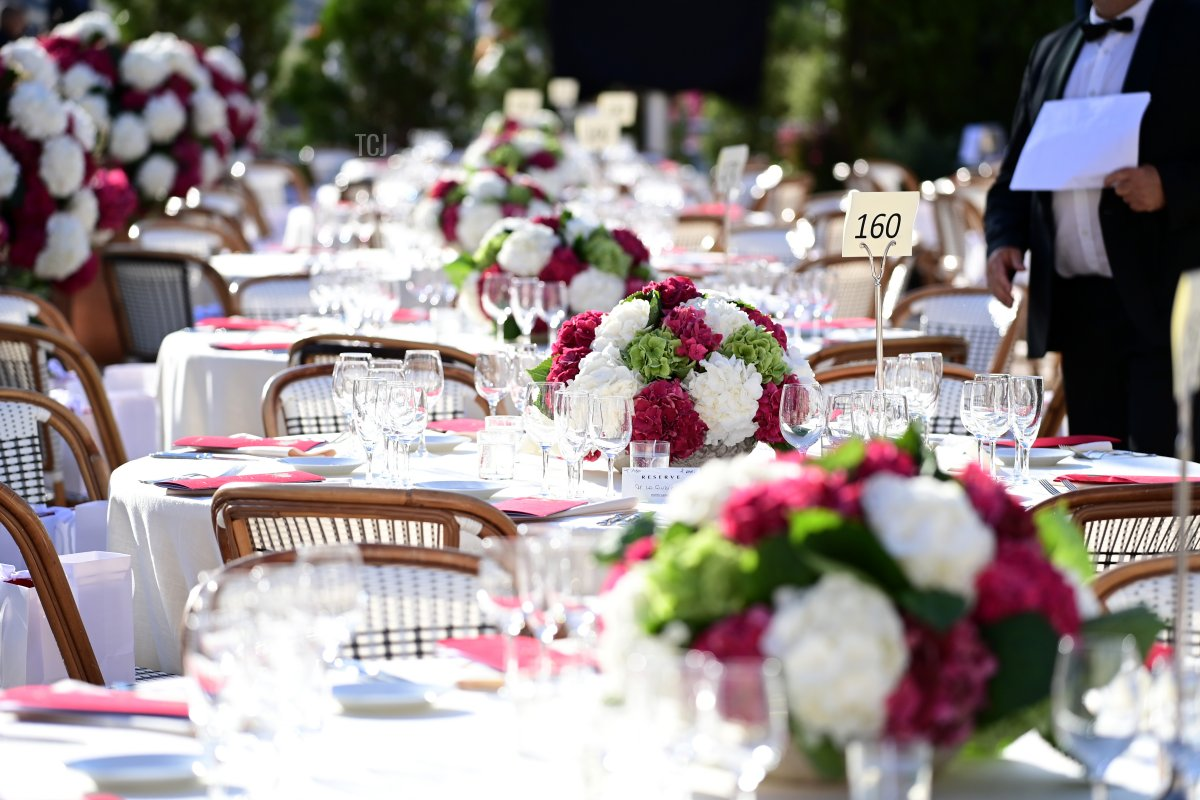 General view of the dinner tables at Cafe de Paris prior to the Red Cross Summer Concert on July 16, 2021 in Monte-Carlo, Monaco
