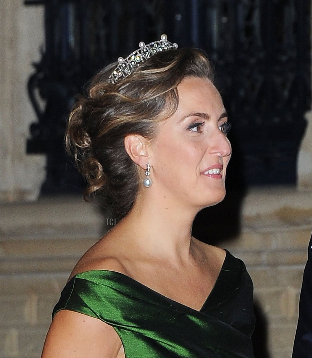 Prince Laurent of Belgium and Princess Claire of Belgium attend the Gala dinner for the wedding of Prince Guillaume Of Luxembourg and Stephanie de Lannoy at the Grand-ducal Palace on October 19, 2012 in Luxembourg