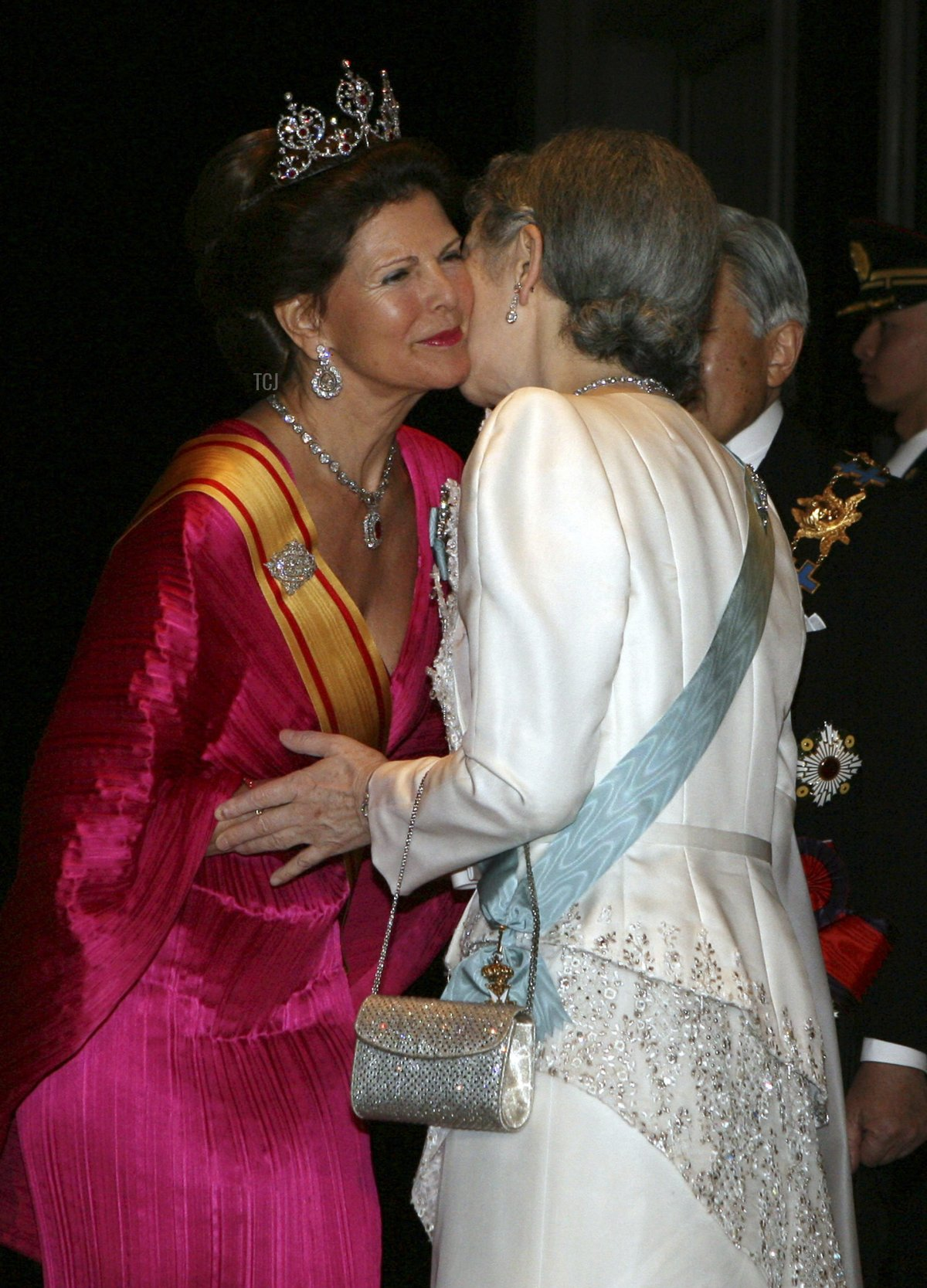 King Carl XVI Gustaf and Queen Silvia of Sweden arrive for dinner at the Imperial Palace on March 26, 2007 in Tokyo, Japan
